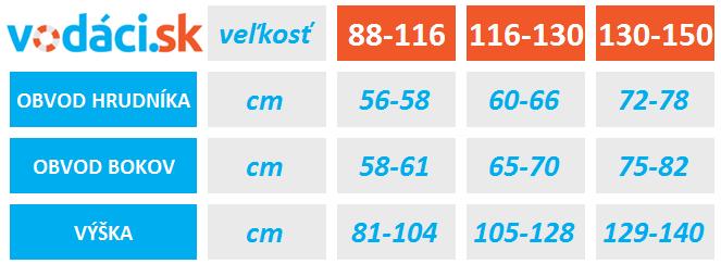 Tabuľka veľkosti detských vodáckych nohavíc Quest Junior Hiko od VODACI.sk